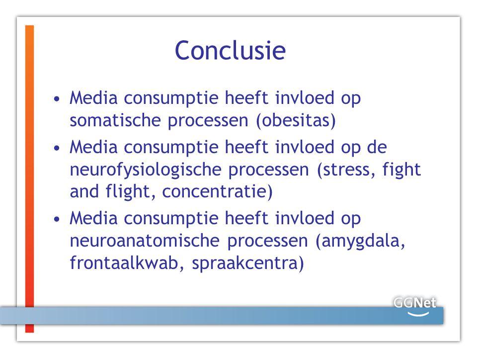 Conclusie Media consumptie heeft invloed op somatische processen (obesitas)