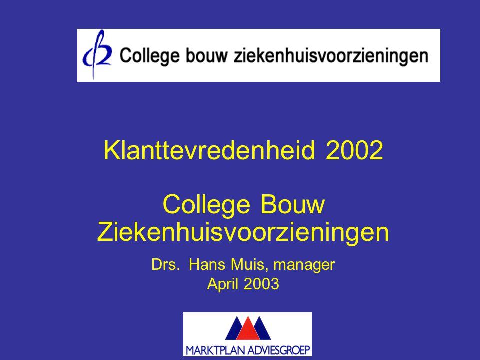 Klanttevredenheid 2002 College Bouw Ziekenhuisvoorzieningen Drs