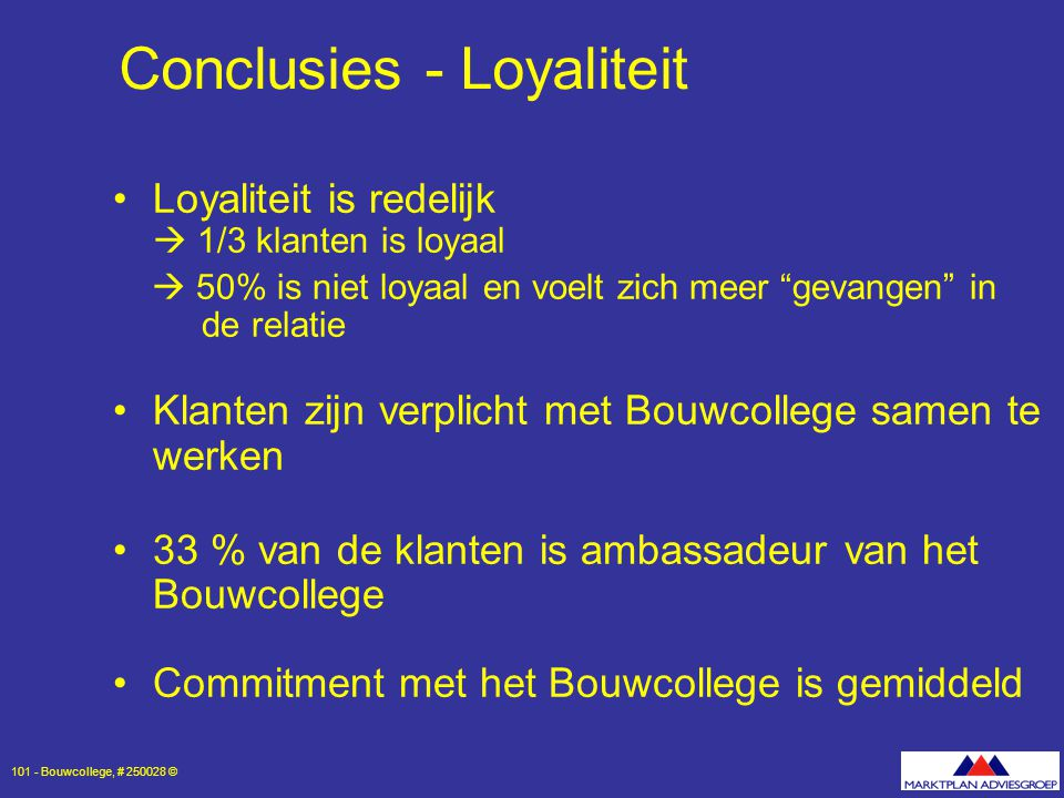 Conclusies - Loyaliteit