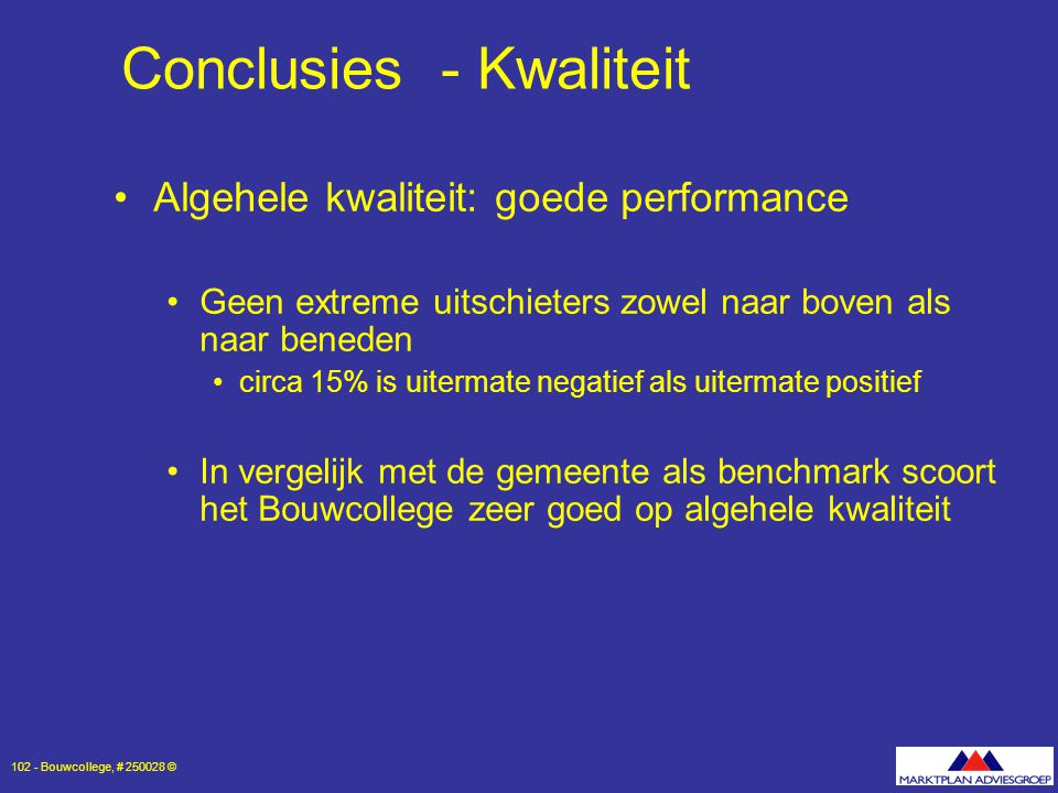 Conclusies - Kwaliteit