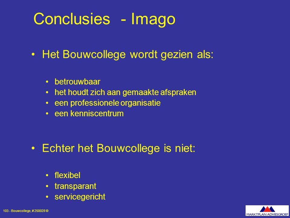 Conclusies - Imago Het Bouwcollege wordt gezien als: