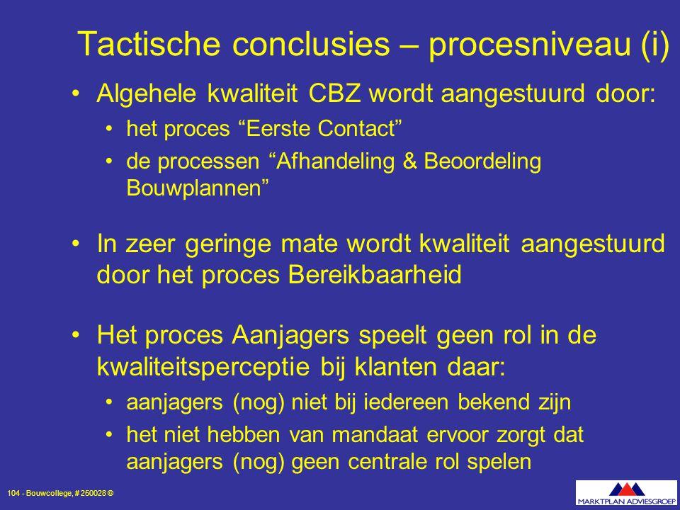 Tactische conclusies – procesniveau (i)