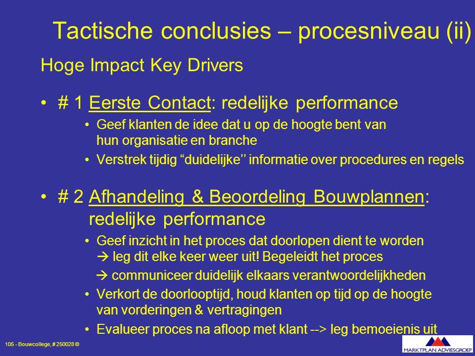 Tactische conclusies – procesniveau (ii)
