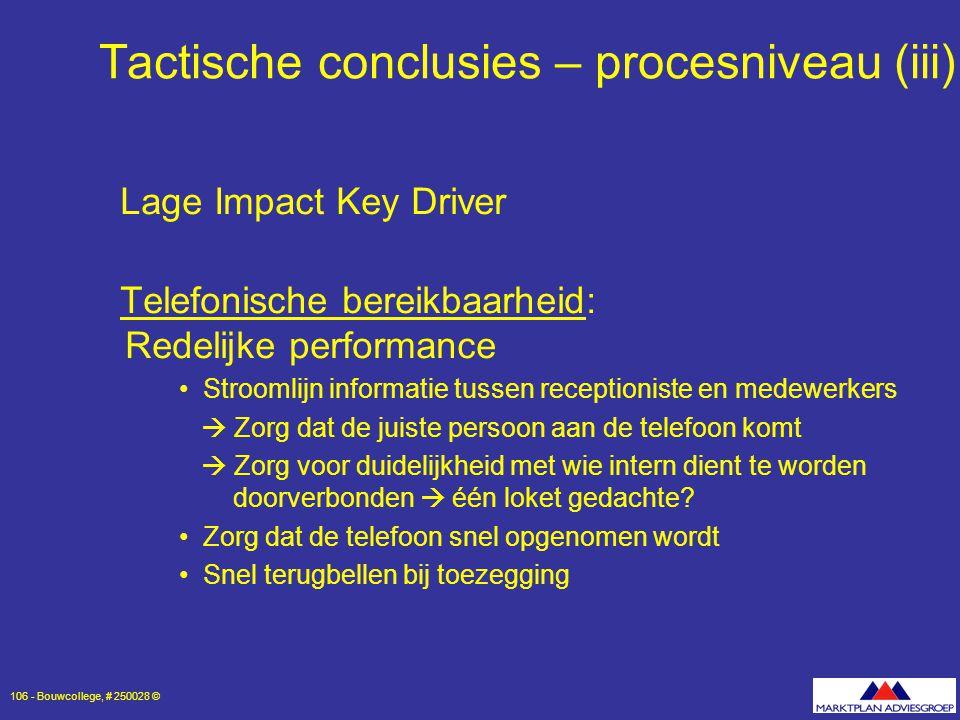 Tactische conclusies – procesniveau (iii)