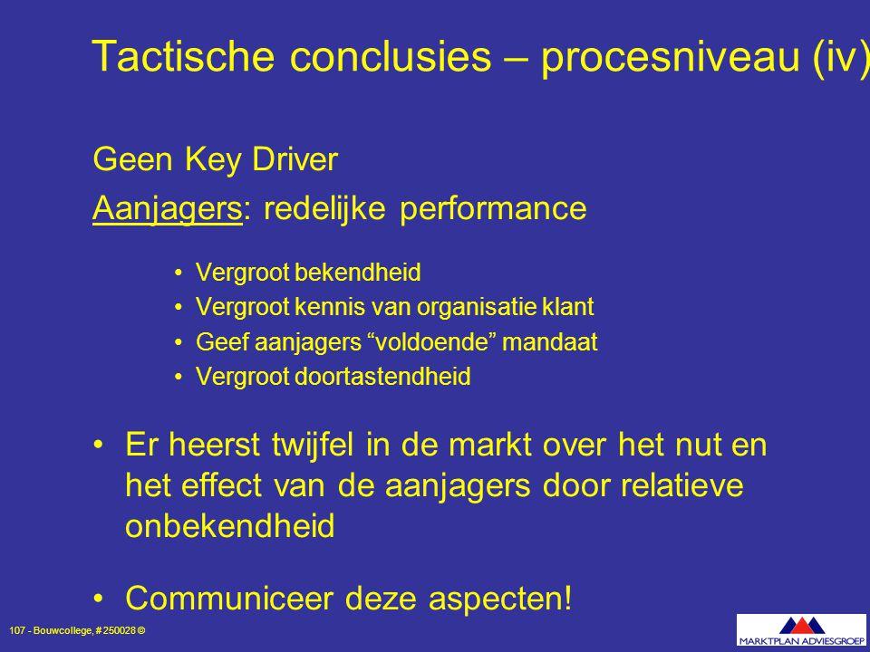 Tactische conclusies – procesniveau (iv)