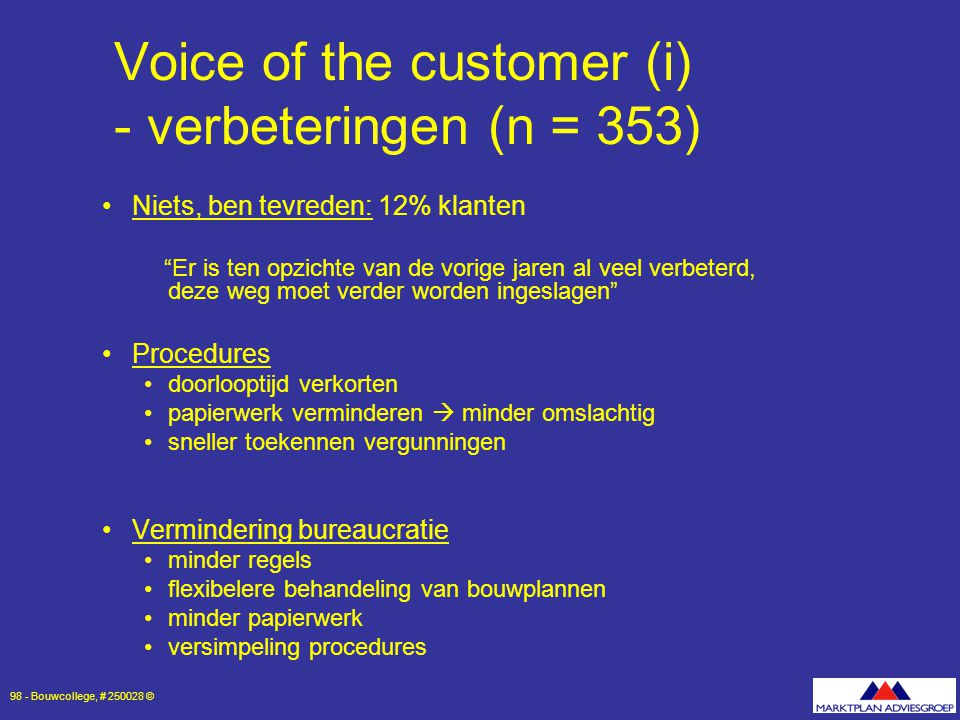 Voice of the customer (i) - verbeteringen (n = 353)