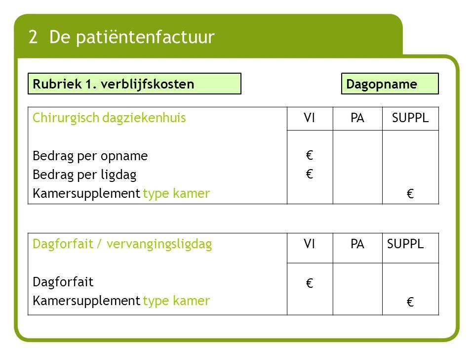 2 De patiëntenfactuur Rubriek 1. verblijfskosten Dagopname