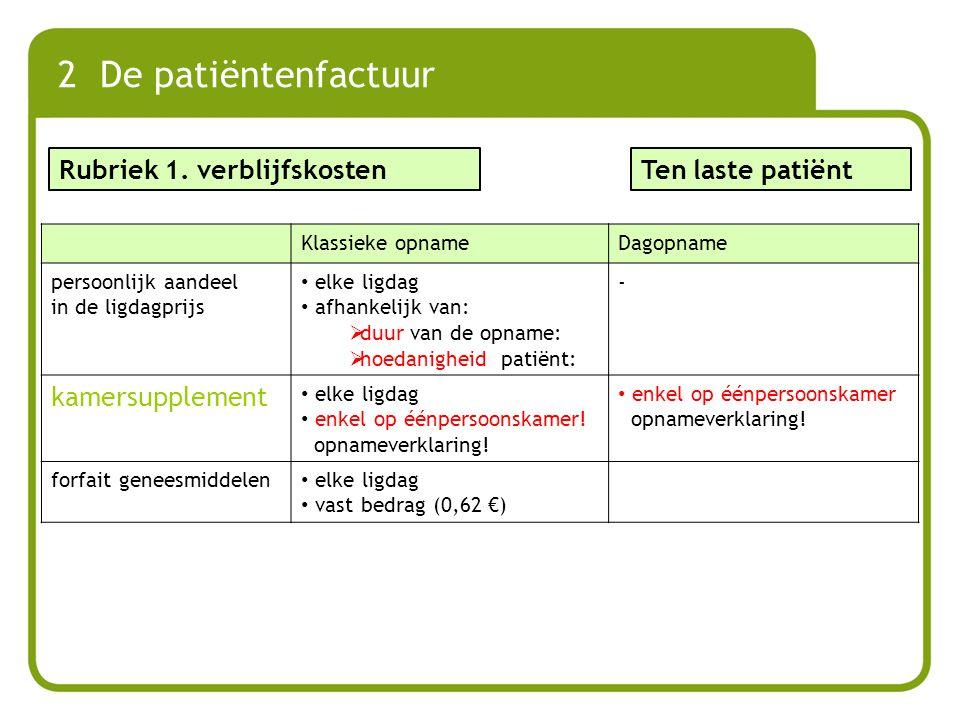 2 De patiëntenfactuur Rubriek 1. verblijfskosten Ten laste patiënt