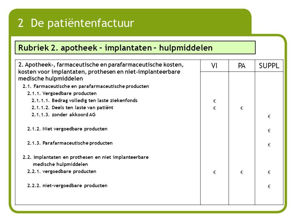 2 De patiëntenfactuur Rubriek 2. apotheek – implantaten – hulpmiddelen