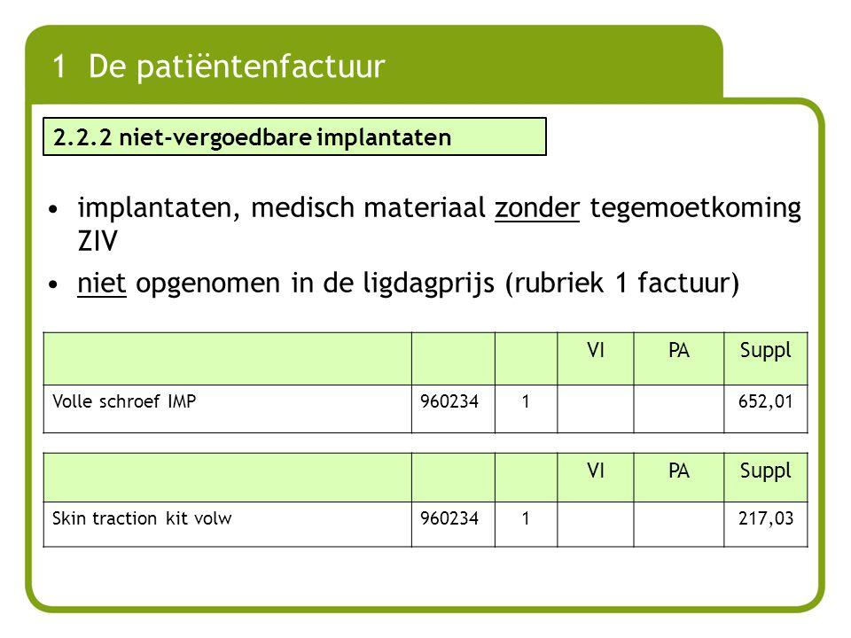 1 De patiëntenfactuur 2.2.2 niet-vergoedbare implantaten. implantaten, medisch materiaal zonder tegemoetkoming ZIV.