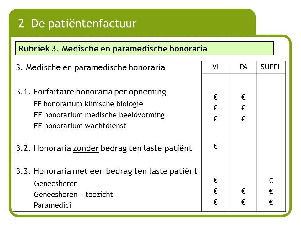 2 De patiëntenfactuur 3. Medische en paramedische honoraria