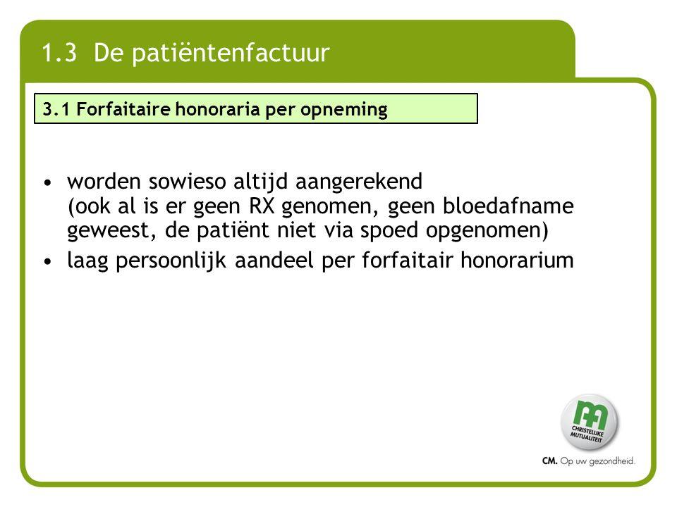 1.3 De patiëntenfactuur 3.1 Forfaitaire honoraria per opneming.