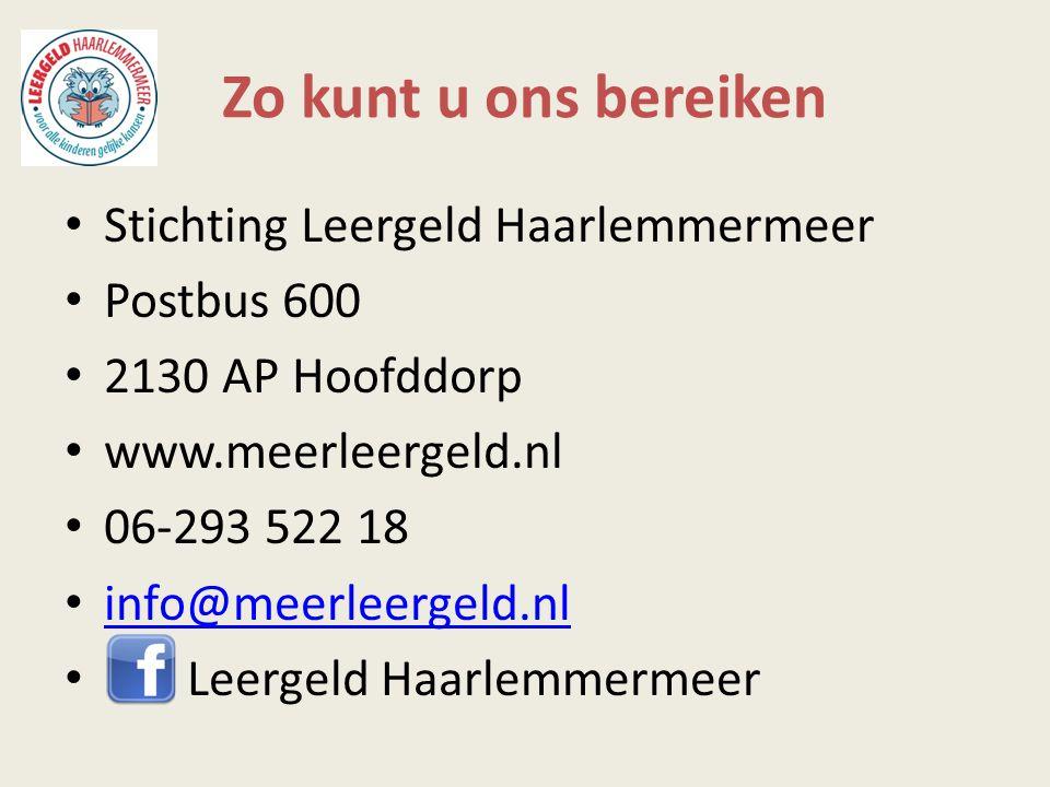 Zo kunt u ons bereiken Stichting Leergeld Haarlemmermeer Postbus 600