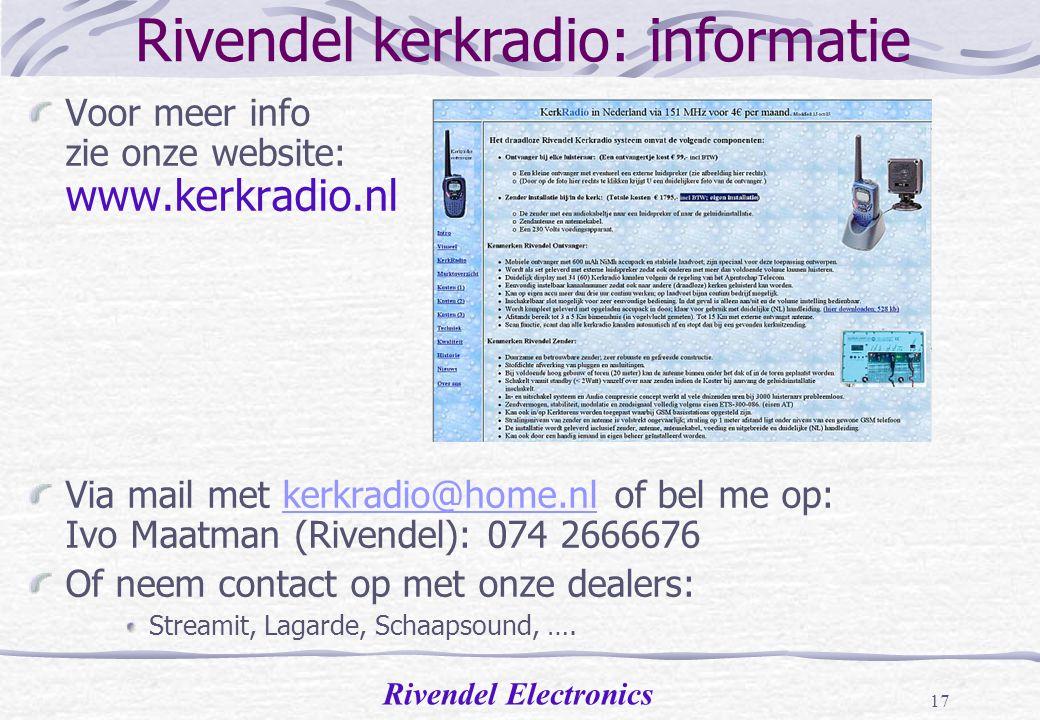 Rivendel kerkradio: informatie