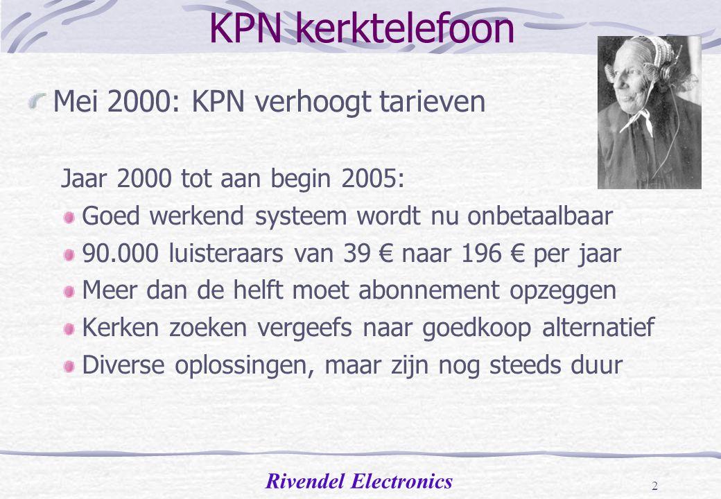 KPN kerktelefoon Mei 2000: KPN verhoogt tarieven