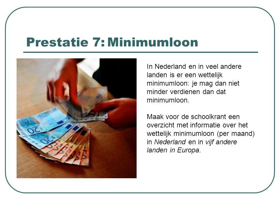 Prestatie 7: Minimumloon