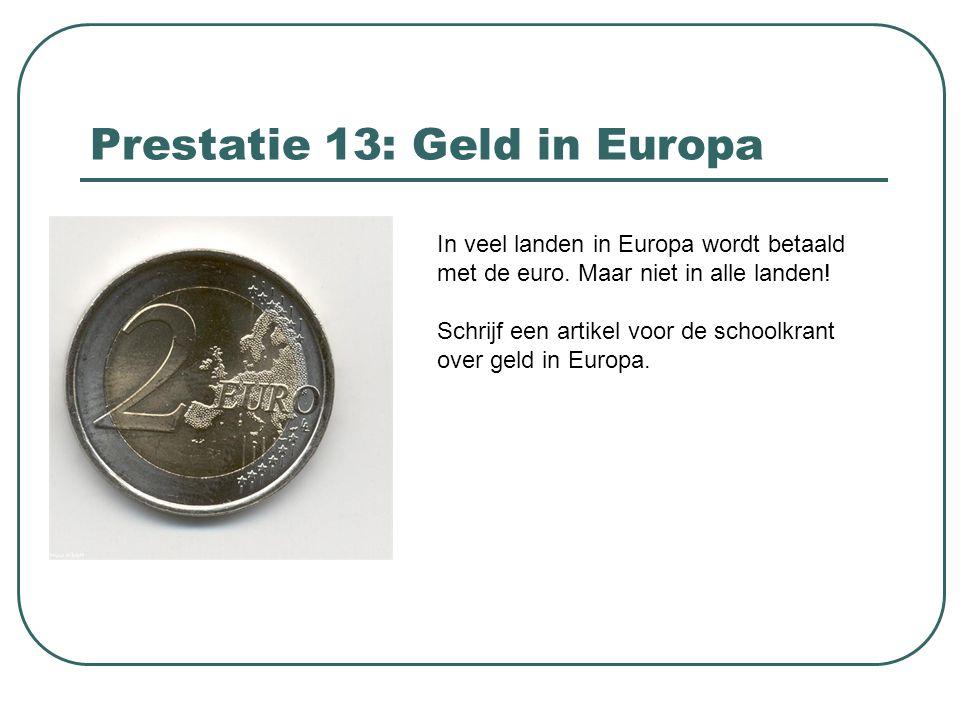 Prestatie 13: Geld in Europa