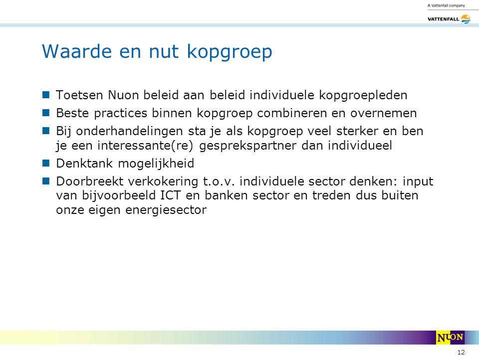 Waarde en nut kopgroep Toetsen Nuon beleid aan beleid individuele kopgroepleden. Beste practices binnen kopgroep combineren en overnemen.