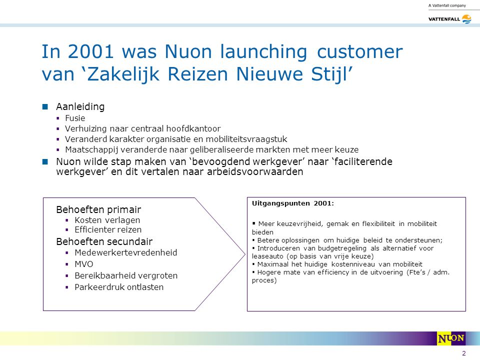 In 2001 was Nuon launching customer van 'Zakelijk Reizen Nieuwe Stijl'