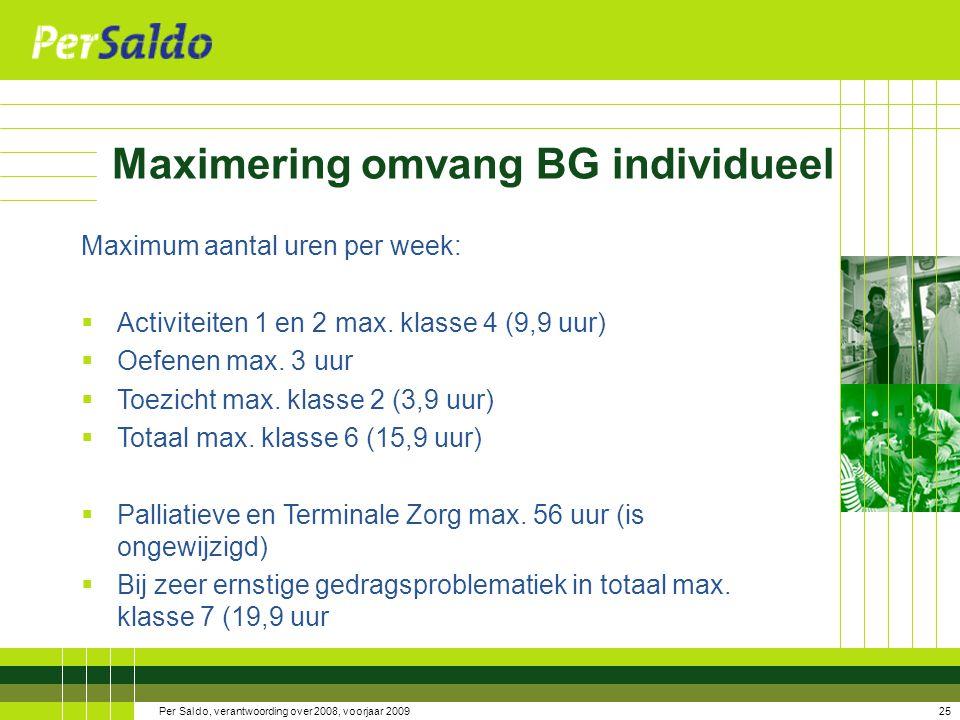 Maximering omvang BG individueel