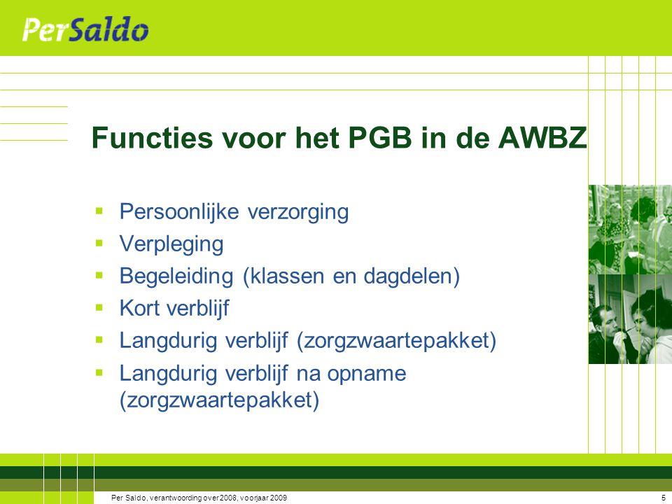 Functies voor het PGB in de AWBZ