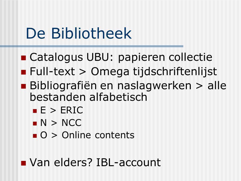 De Bibliotheek Catalogus UBU: papieren collectie