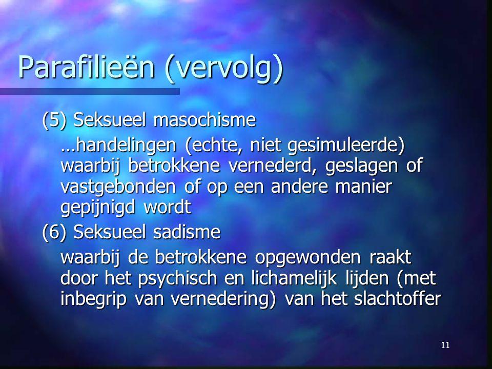 Parafilieën (vervolg)
