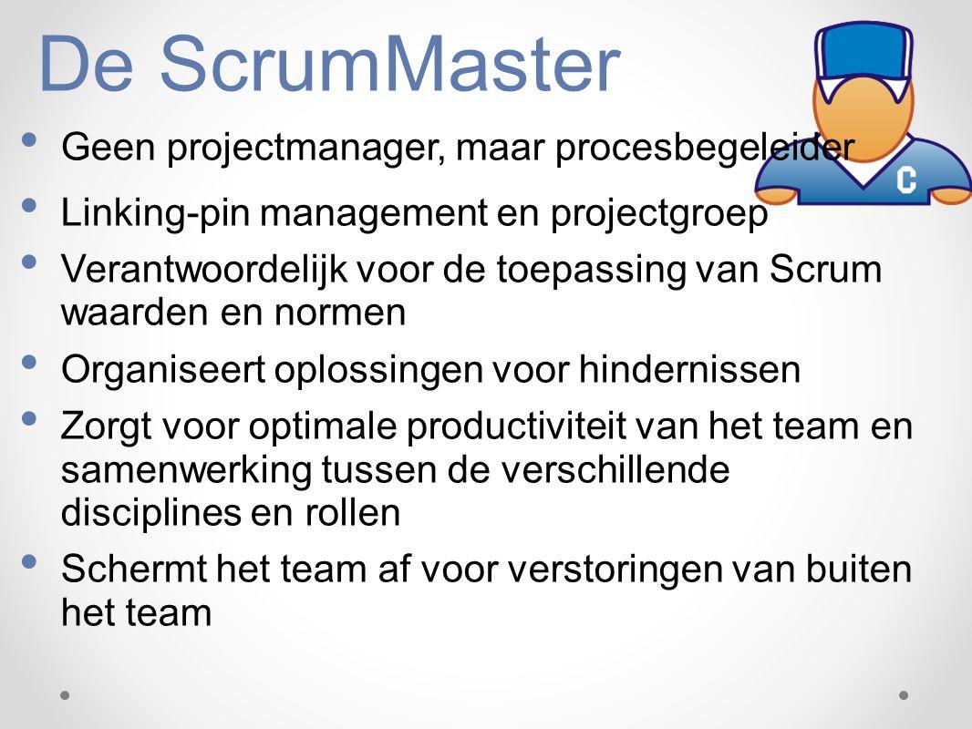 De ScrumMaster Geen projectmanager, maar procesbegeleider