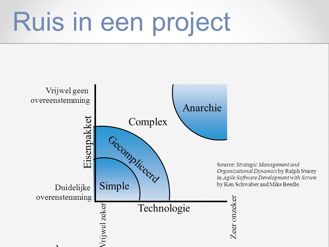 Ruis in een project Anarchie Complex Eisenpakket Gecompliceerd Simple