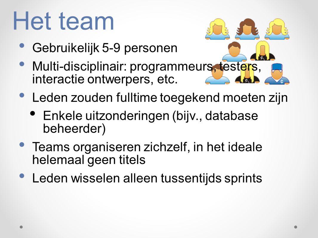 Het team Gebruikelijk 5-9 personen