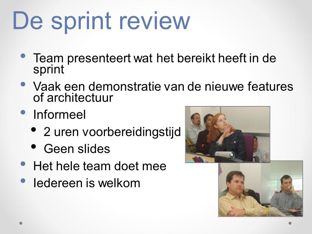 De sprint review Team presenteert wat het bereikt heeft in de sprint