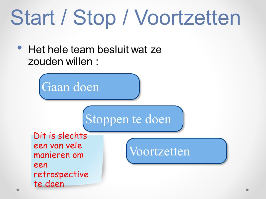 Start / Stop / Voortzetten