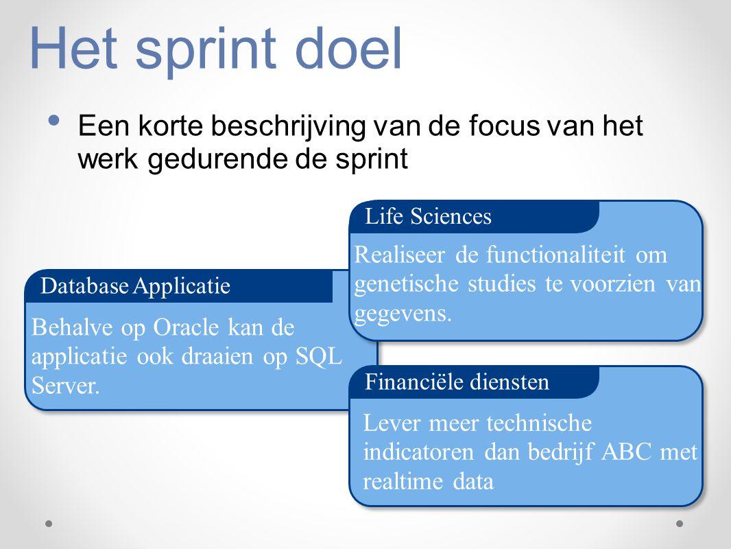Het sprint doel Een korte beschrijving van de focus van het werk gedurende de sprint. Life Sciences.