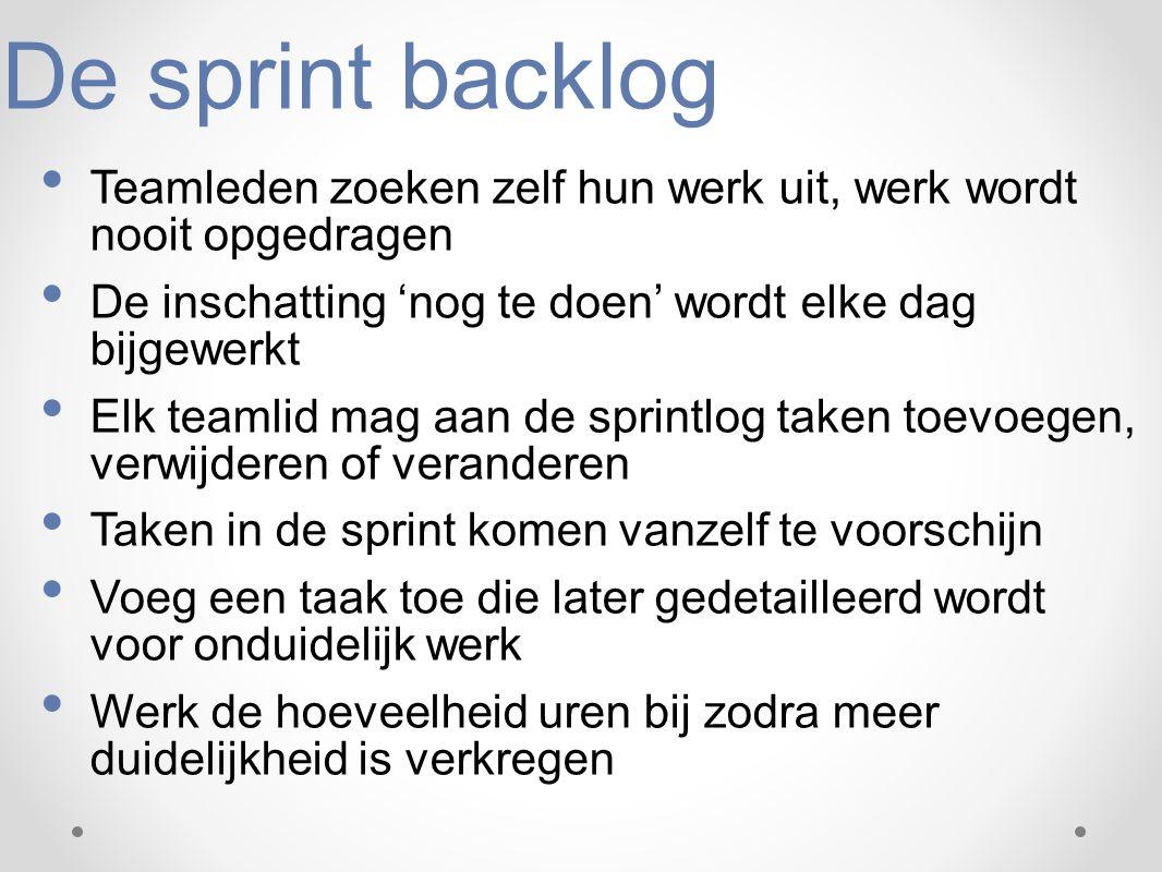 De sprint backlog Teamleden zoeken zelf hun werk uit, werk wordt nooit opgedragen. De inschatting 'nog te doen' wordt elke dag bijgewerkt.