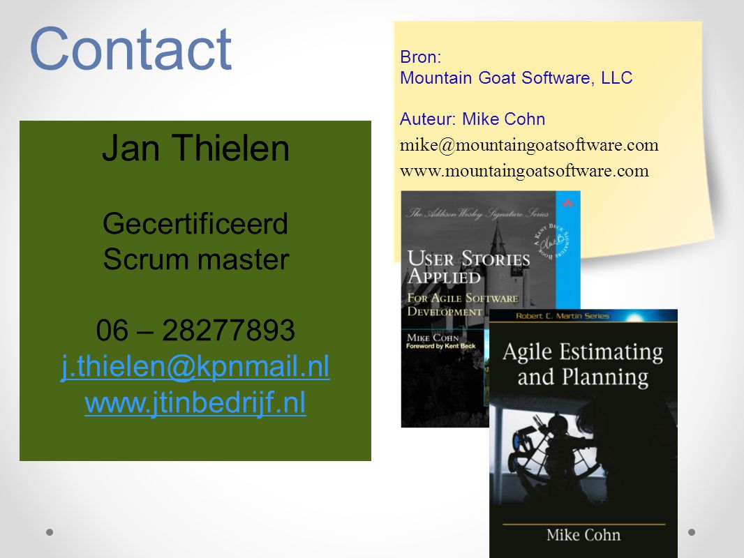 Contact Jan Thielen Gecertificeerd Scrum master 06 – 28277893
