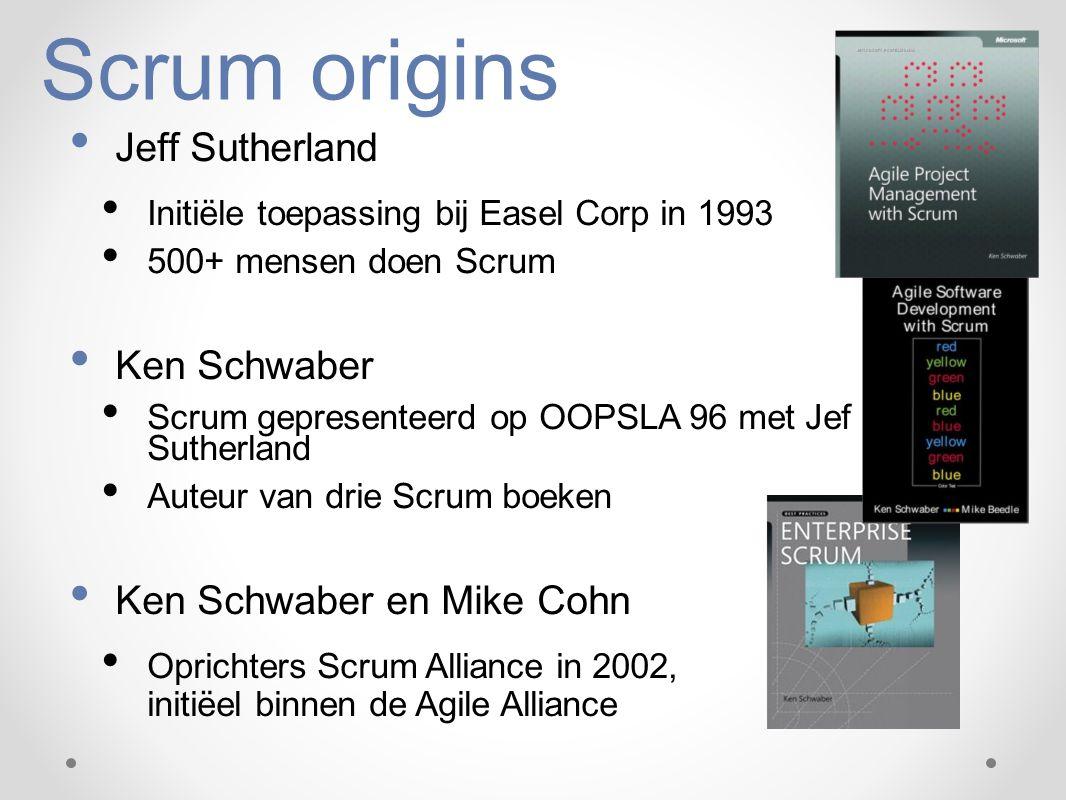 Scrum origins Jeff Sutherland Ken Schwaber Ken Schwaber en Mike Cohn