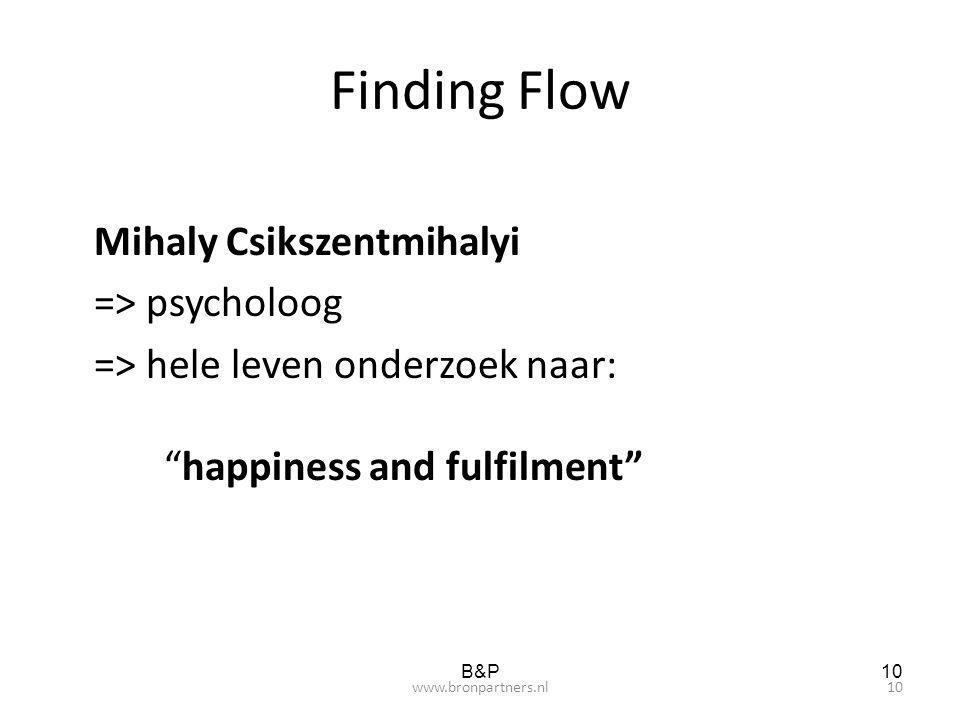 Finding Flow Mihaly Csikszentmihalyi => psycholoog => hele leven onderzoek naar: happiness and fulfilment