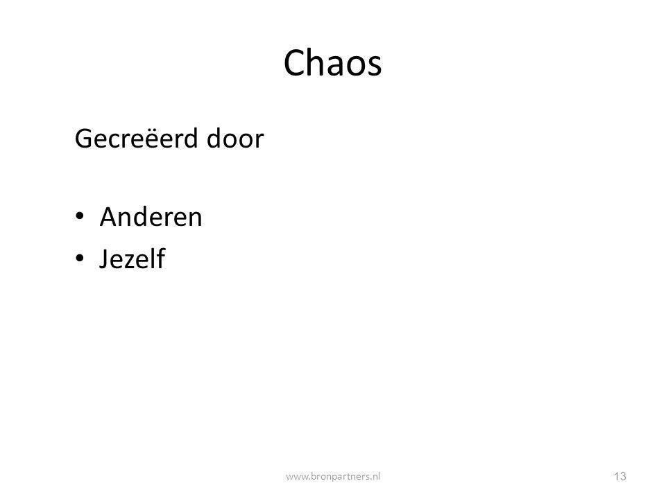 Chaos Gecreëerd door Anderen Jezelf www.bronpartners.nl
