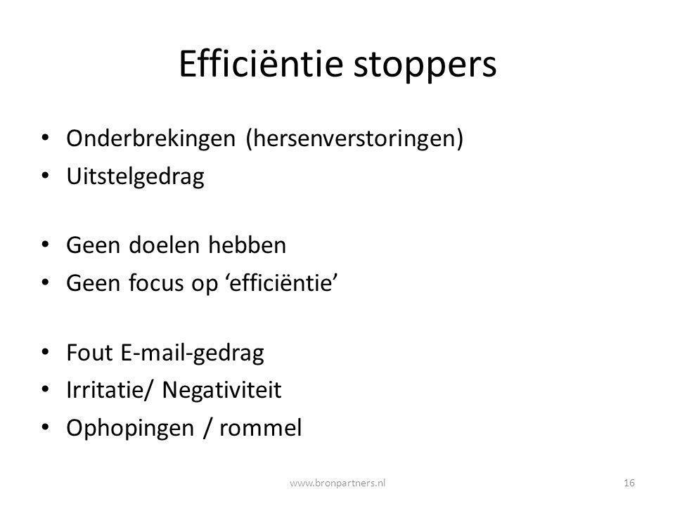 Efficiëntie stoppers Onderbrekingen (hersenverstoringen) Uitstelgedrag