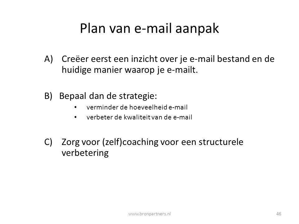 Plan van e-mail aanpak Creëer eerst een inzicht over je e-mail bestand en de huidige manier waarop je e-mailt.