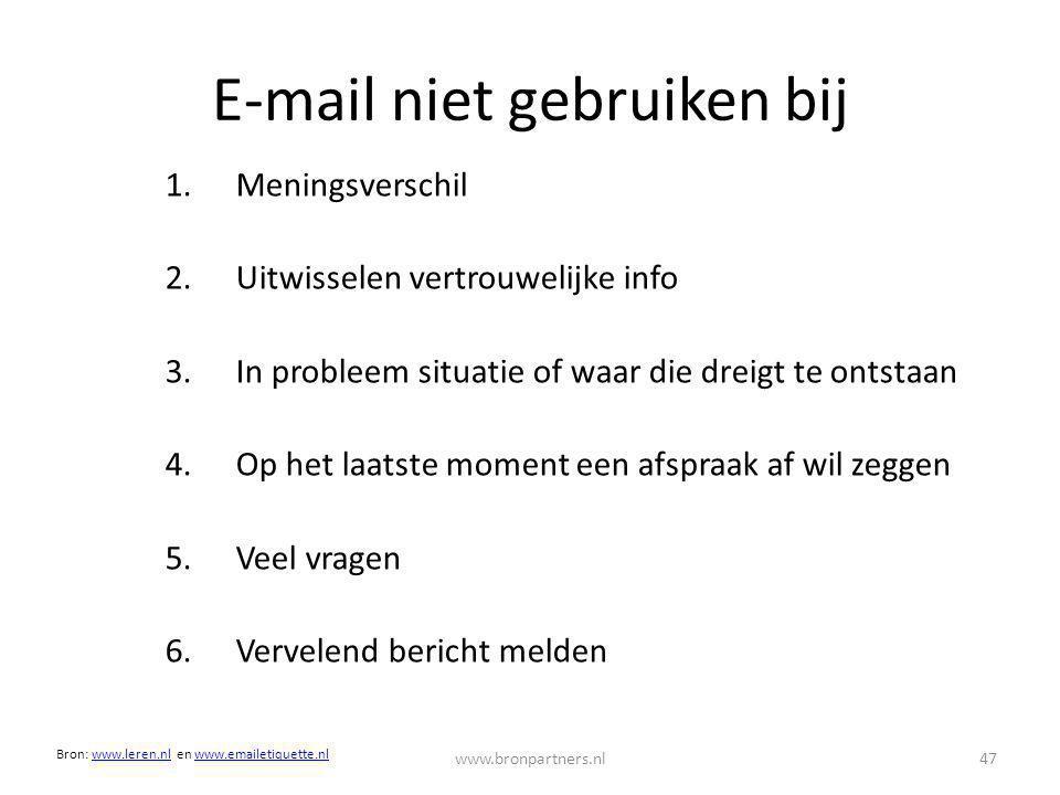 E-mail niet gebruiken bij