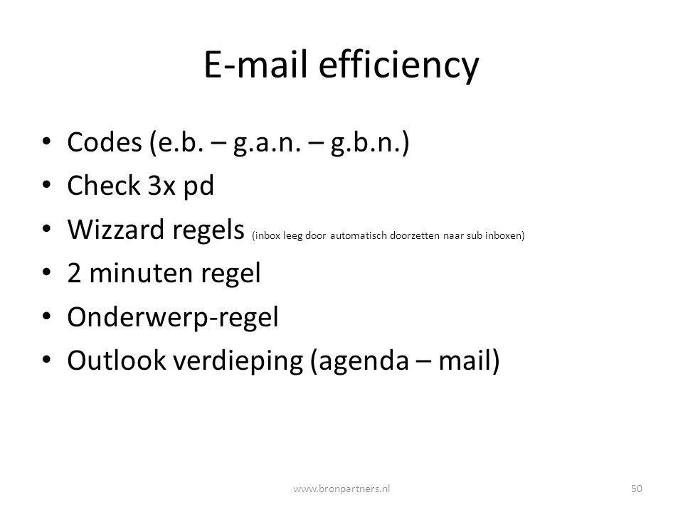 E-mail efficiency Codes (e.b. – g.a.n. – g.b.n.) Check 3x pd