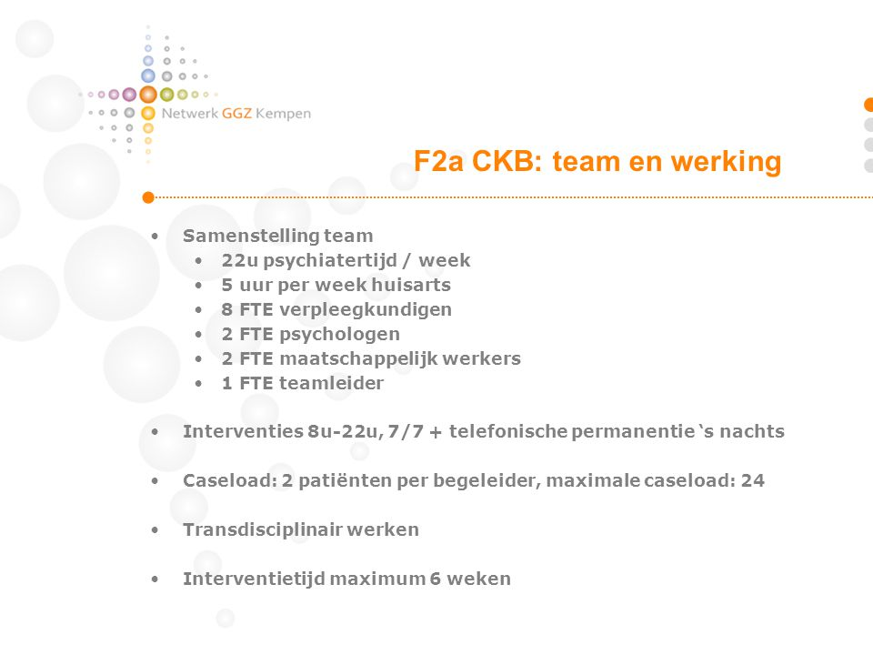 F2a CKB: team en werking Samenstelling team 22u psychiatertijd / week
