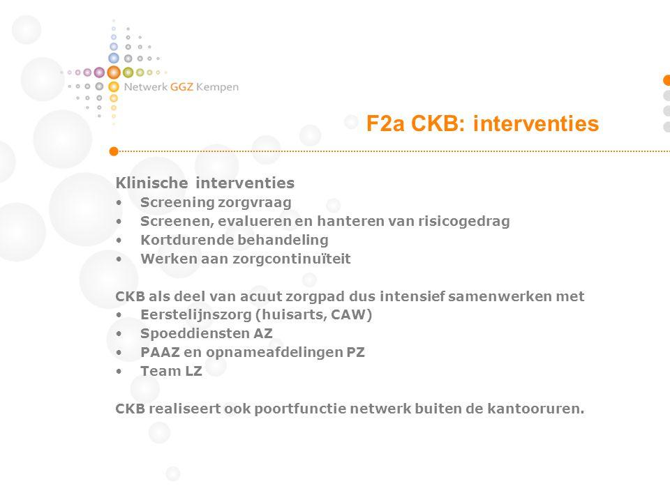 F2a CKB: interventies Klinische interventies Screening zorgvraag