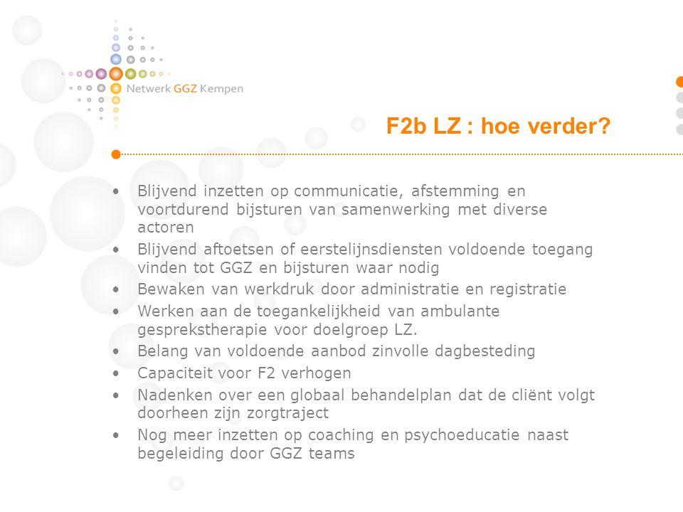 F2b LZ : hoe verder Blijvend inzetten op communicatie, afstemming en voortdurend bijsturen van samenwerking met diverse actoren.
