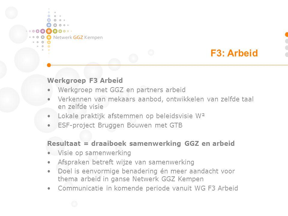 F3: Arbeid Werkgroep F3 Arbeid Werkgroep met GGZ en partners arbeid