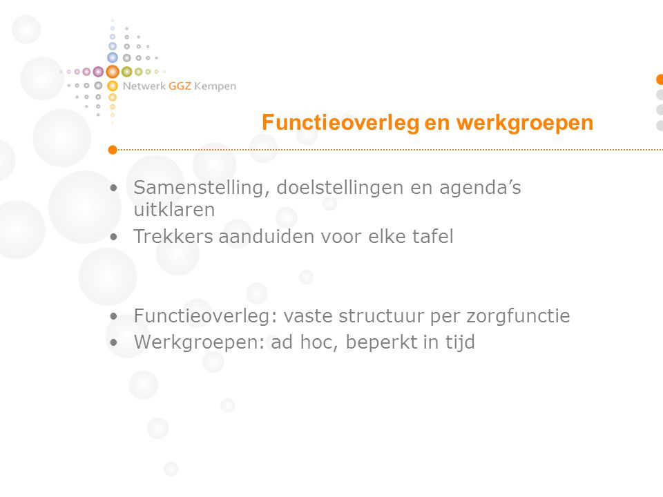 Functieoverleg en werkgroepen