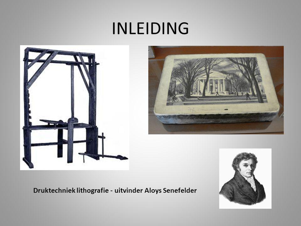 Druktechniek lithografie - uitvinder Aloys Senefelder