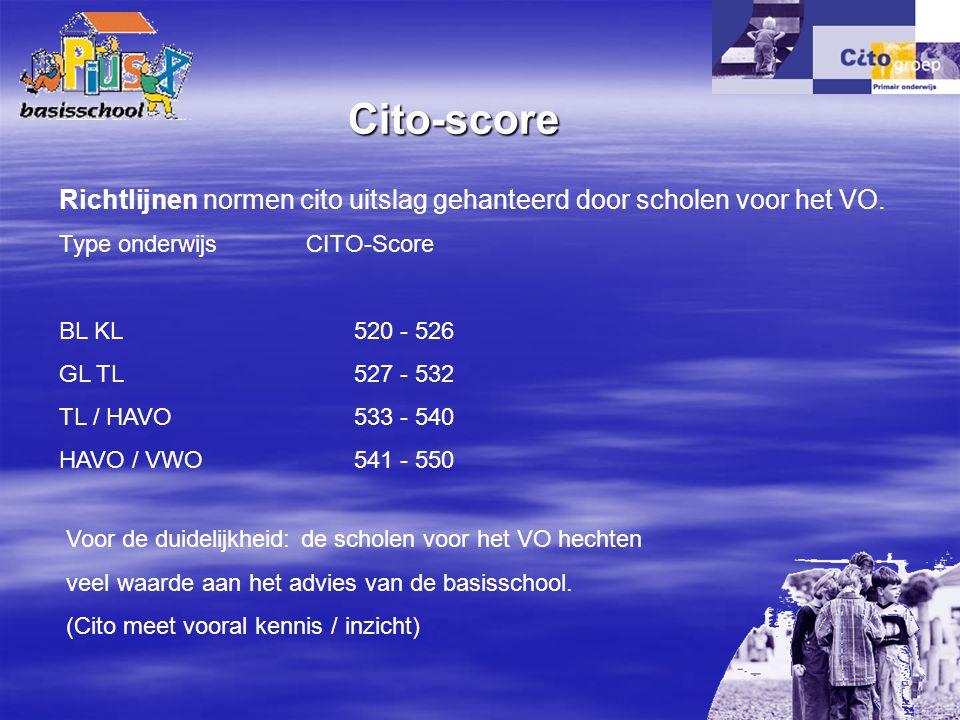 Cito-score Richtlijnen normen cito uitslag gehanteerd door scholen voor het VO. Type onderwijs CITO-Score.