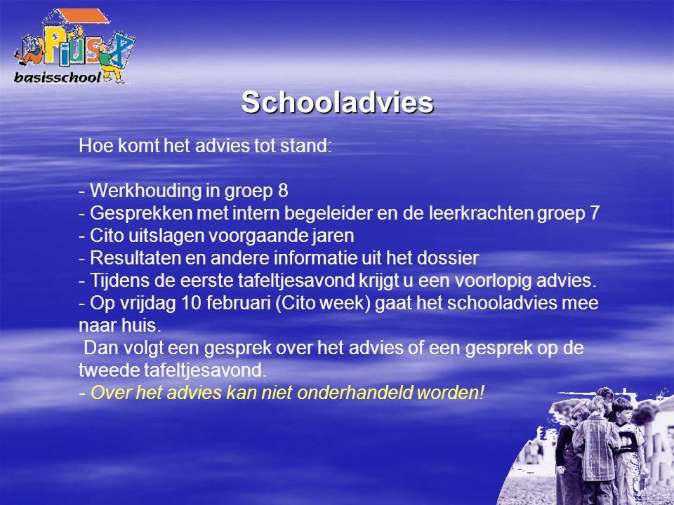 Schooladvies Hoe komt het advies tot stand: - Werkhouding in groep 8